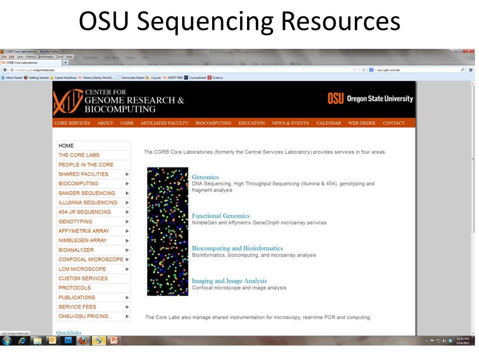OSU Sequencing Resources