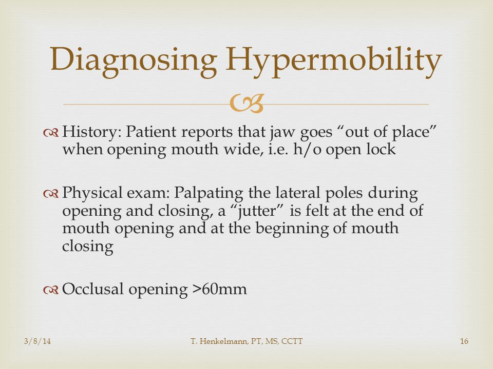 Diagnosing Hypermobility