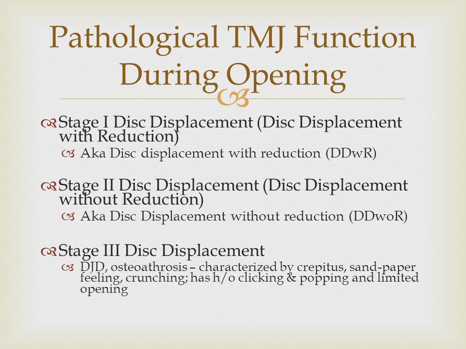 Pathological TMJ Function During Opening