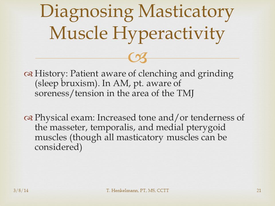 Diagnosing Masticatory Muscle Hyperactivity