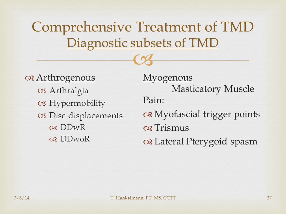 Comprehensive Treatment of TMD Diagnostic subsets of TMD