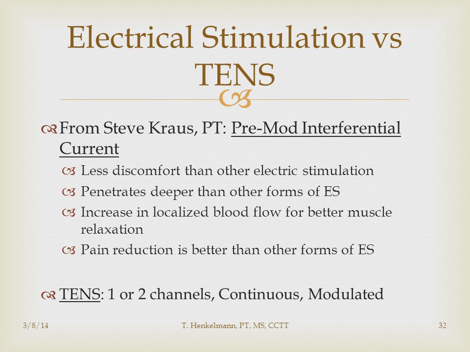 Electrical Stimulation vs TENS