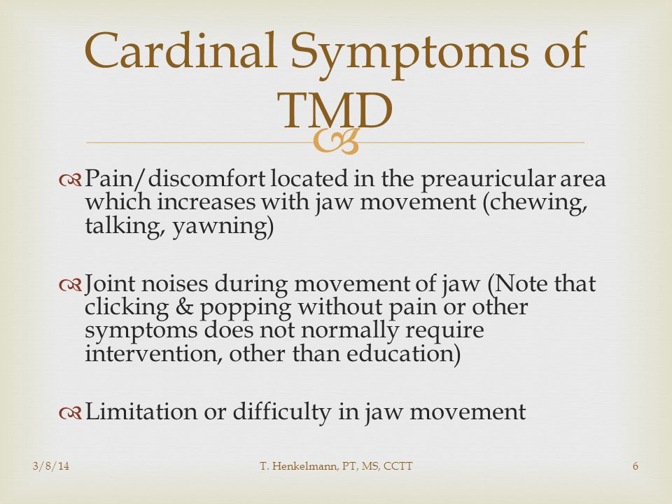 Cardinal Symptoms of TMD