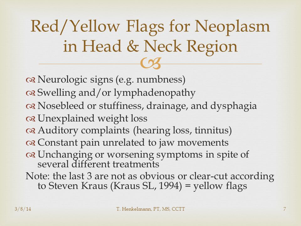 Red/Yellow Flags for Neoplasm in Head & Neck Region