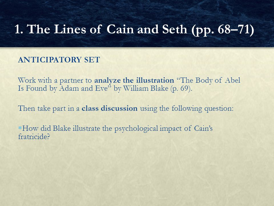 1. The Lines of Cain and Seth (pp. 68–71)