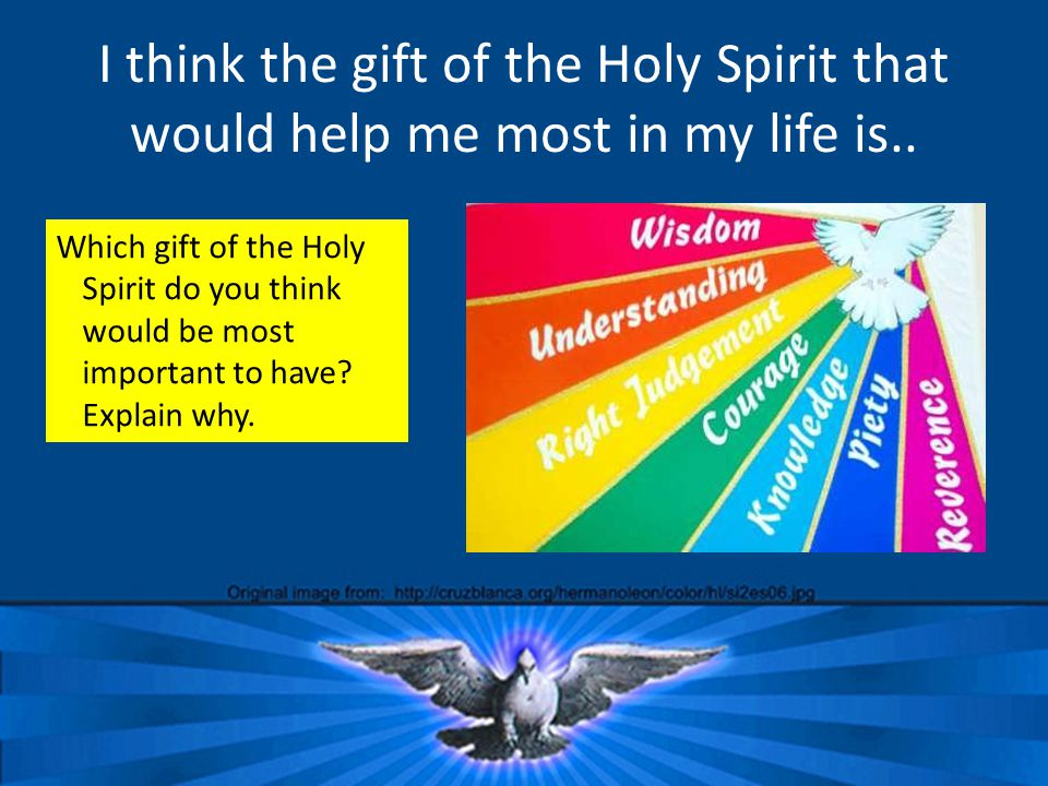 I think the gift of the Holy Spirit that would help me most in my life is..