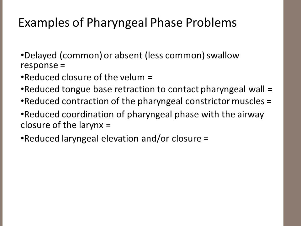 Examples of Pharyngeal Phase Problems