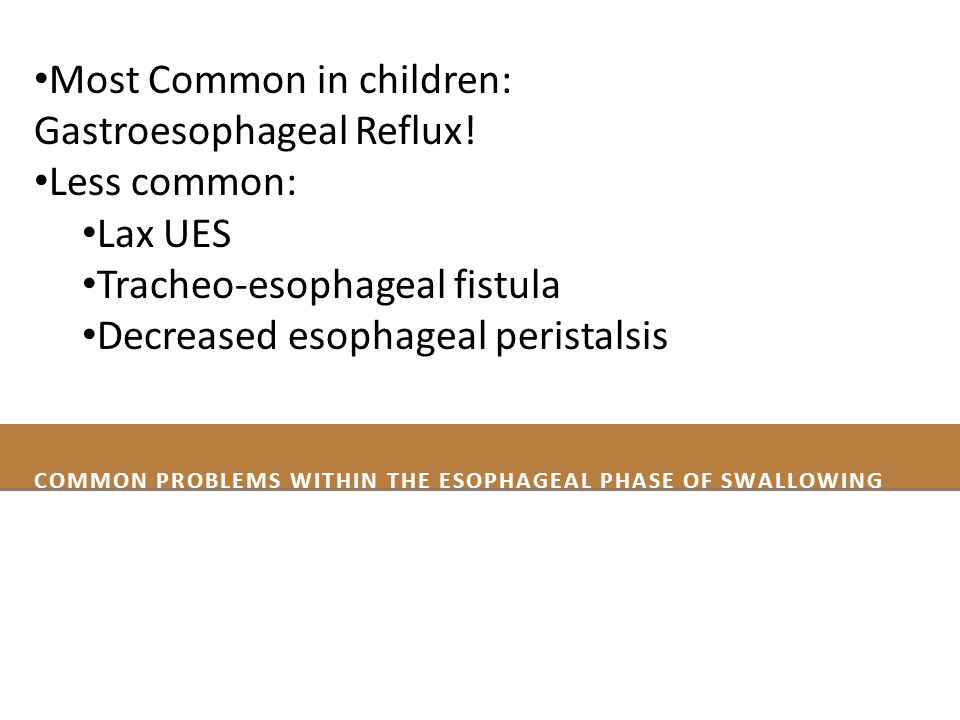 Common Problems within thE Esophageal Phase of Swallowing