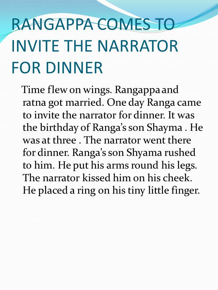 RANGAPPA COMES TO INVITE THE NARRATOR FOR DINNER