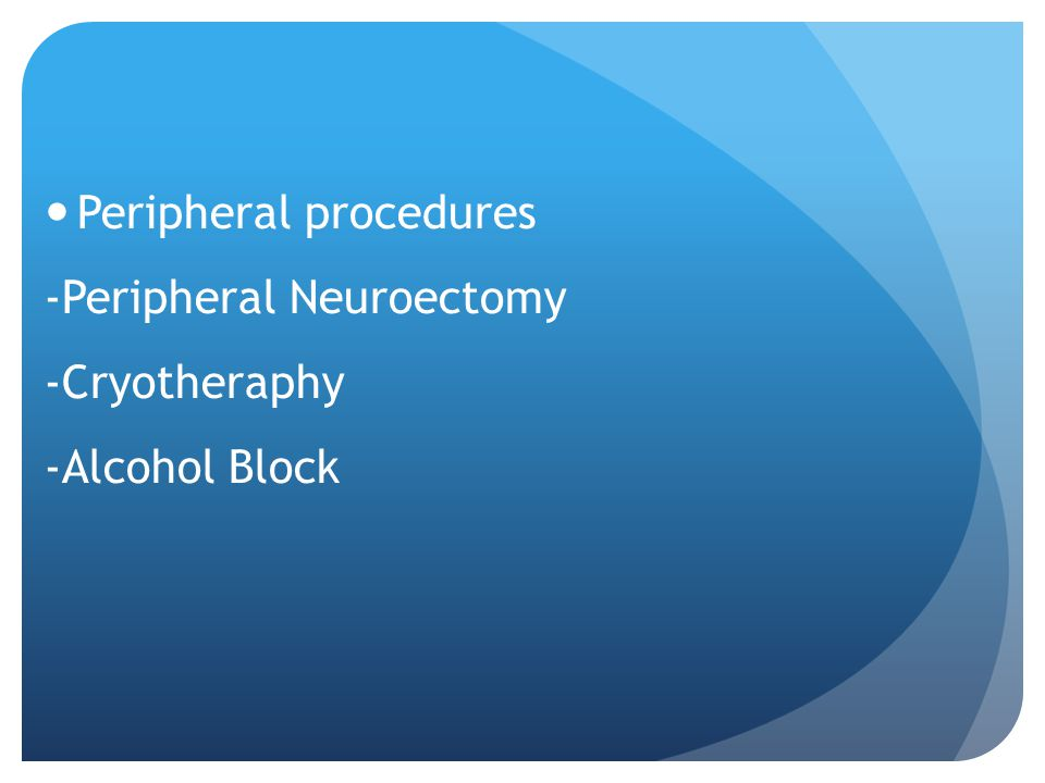 Peripheral procedures