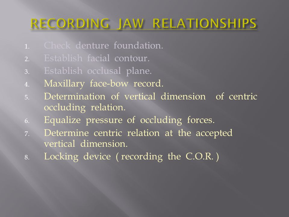 RECORDING JAW RELATIONSHIPS