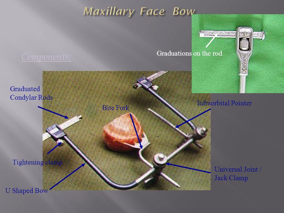 Maxillary Face Bow Components: Graduations on the rod Graduated