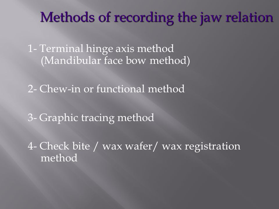 Methods of recording the jaw relation