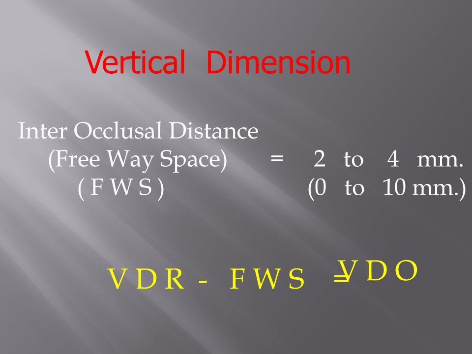 Vertical Dimension V D O V D R - F W S = Inter Occlusal Distance