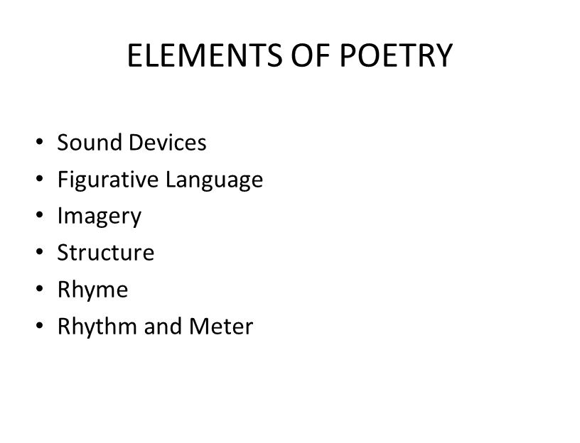 ELEMENTS OF POETRY Sound Devices Figurative Language Imagery Structure
