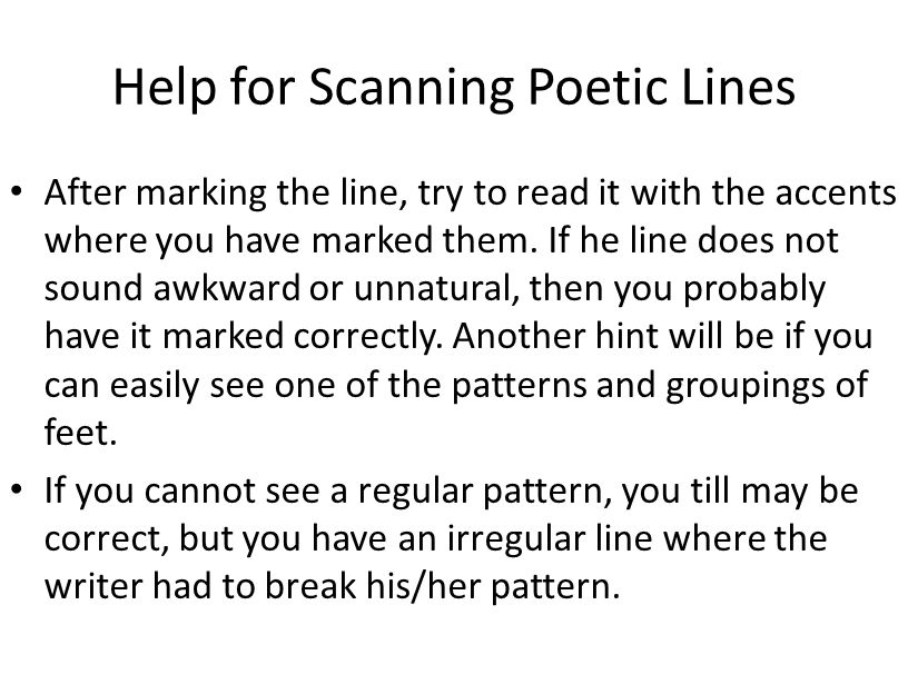 Help for Scanning Poetic Lines
