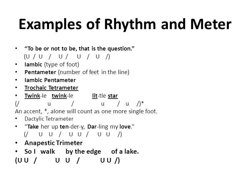 Examples of Rhythm and Meter