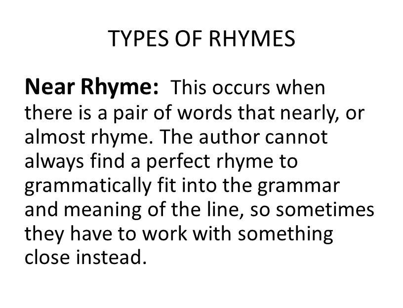 TYPES OF RHYMES