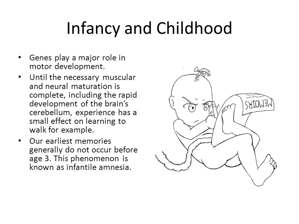 Infancy and Childhood Genes play a major role in motor development.