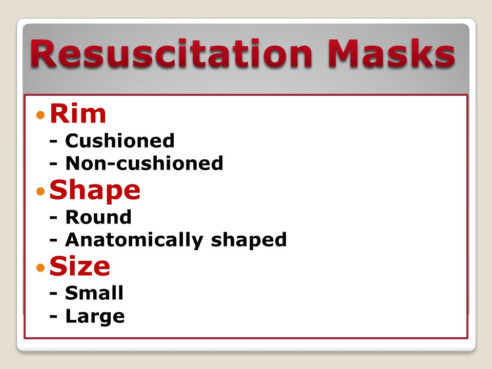 Resuscitation Masks Resuscitation Masks Rim Shape Size - Cushioned