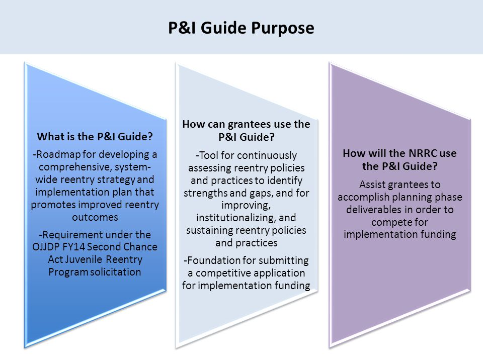 P&I Guide Purpose How can grantees use the P&I Guide