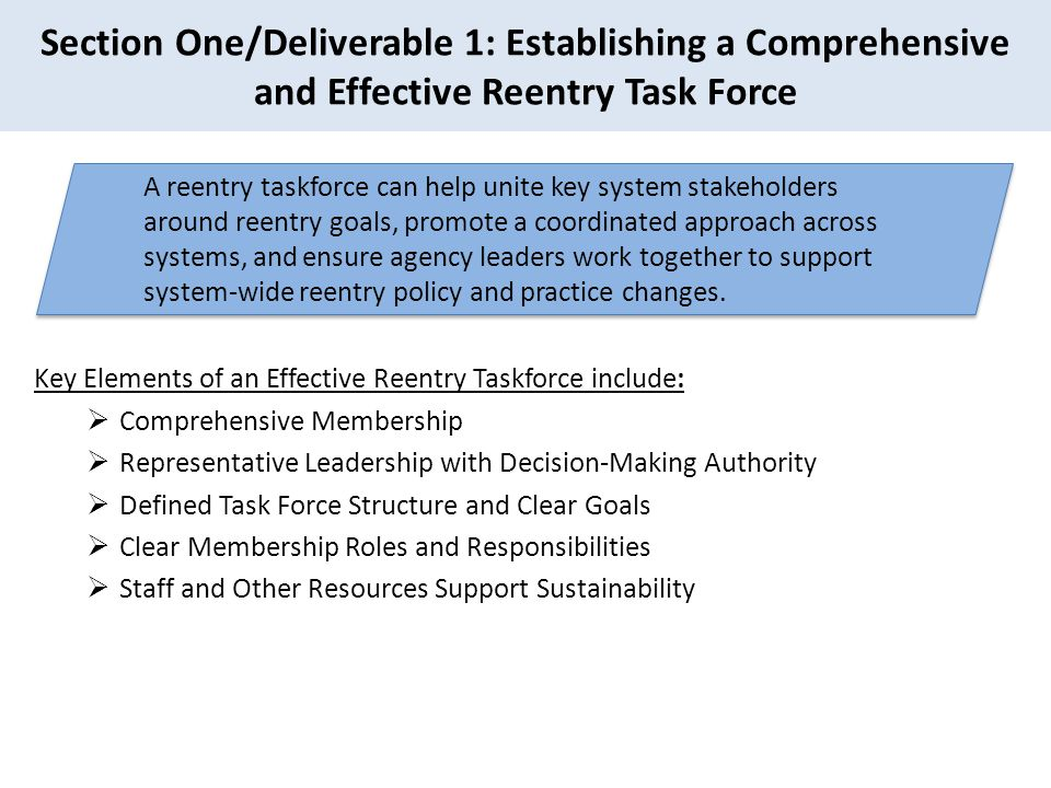 Section One/Deliverable 1: Establishing a Comprehensive and Effective Reentry Task Force
