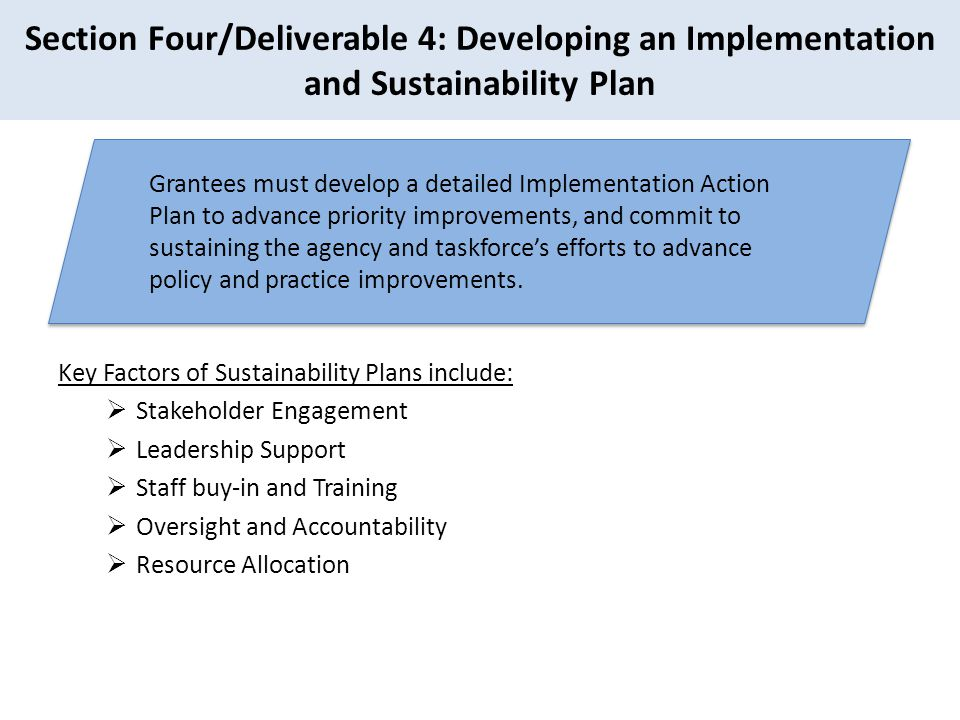 Section Four/Deliverable 4: Developing an Implementation and Sustainability Plan