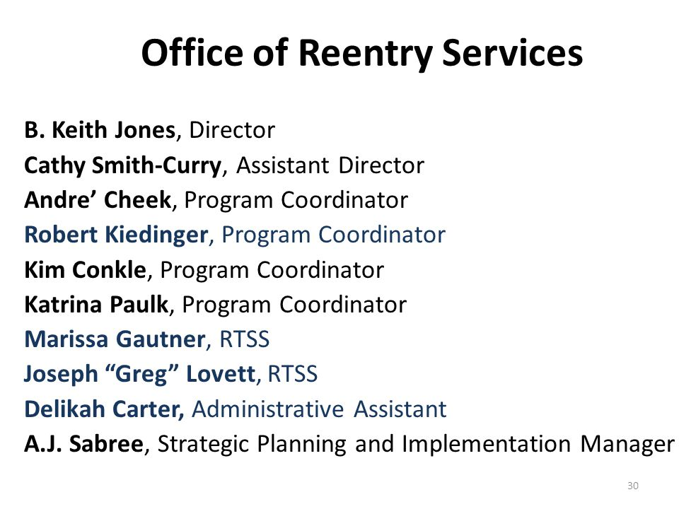 Office of Reentry Services