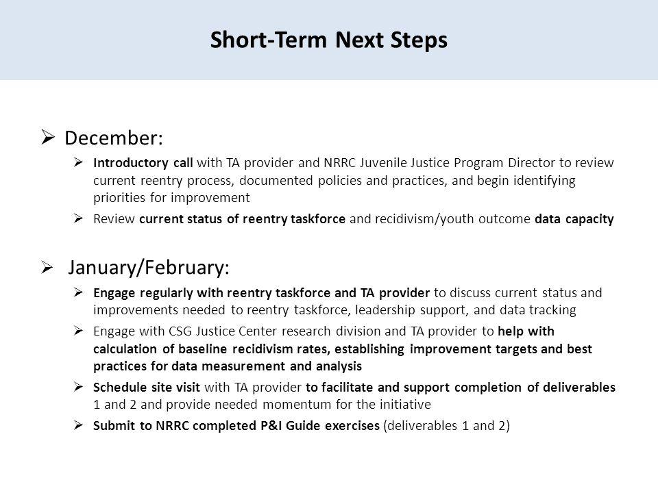 Short-Term Next Steps December: January/February: