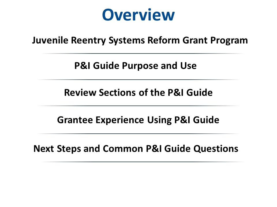 Overview Juvenile Reentry Systems Reform Grant Program