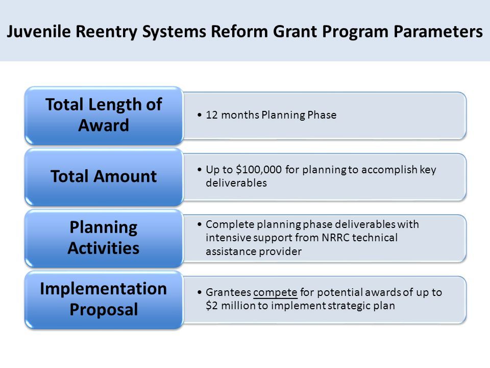 Juvenile Reentry Systems Reform Grant Program Parameters