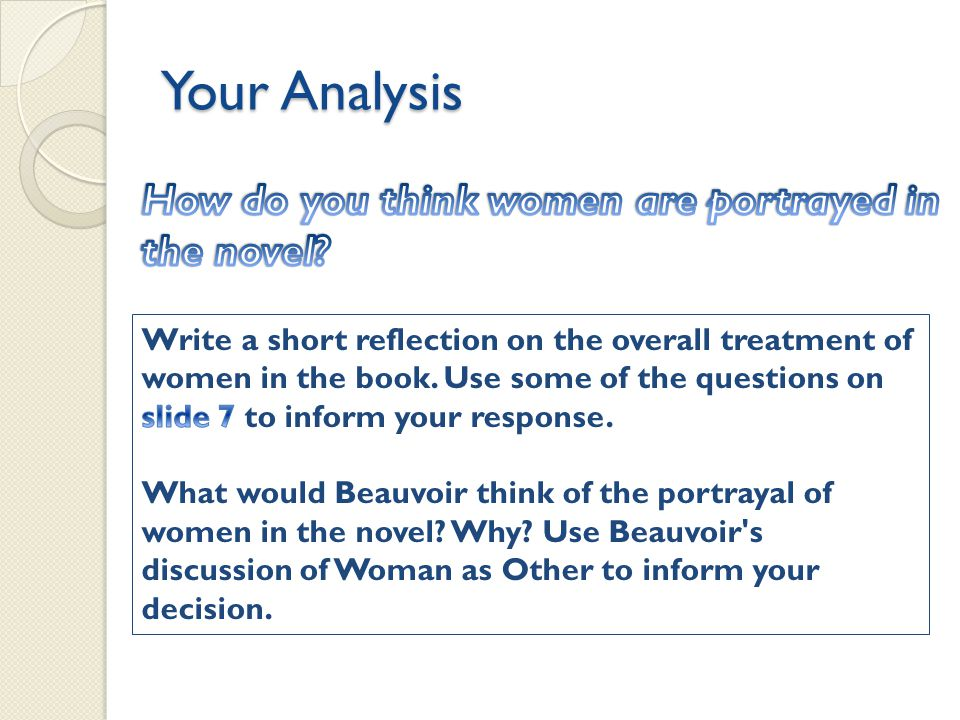Your Analysis How do you think women are portrayed in the novel