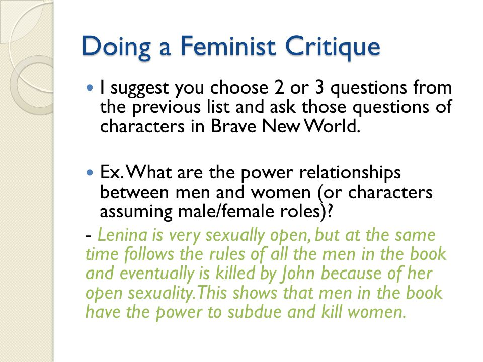 Doing a Feminist Critique