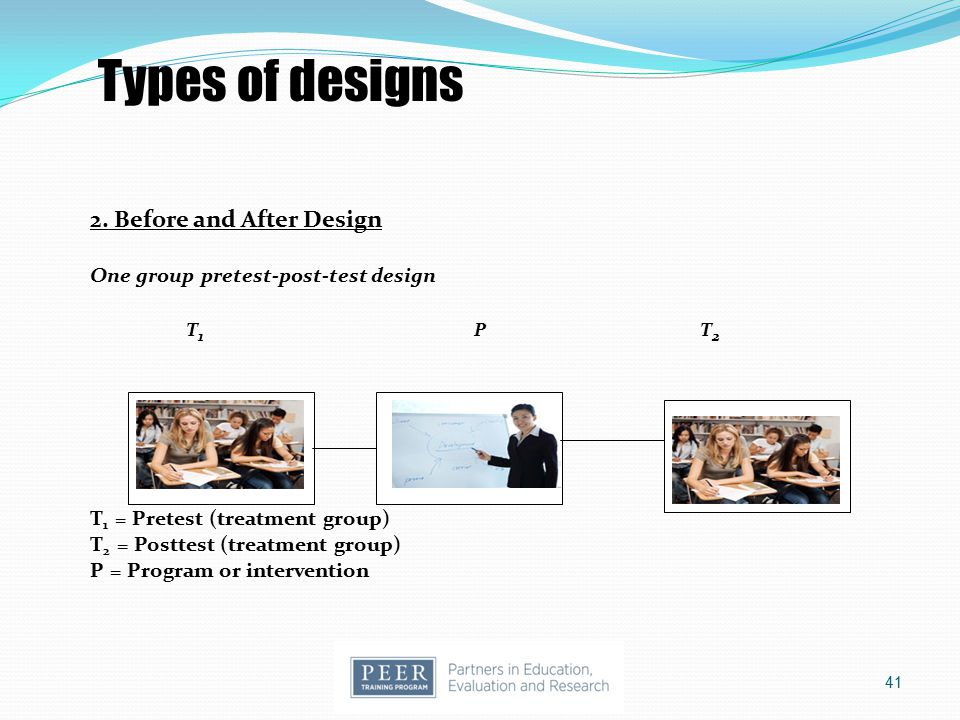 Types of designs 2. Before and After Design T1 P T2