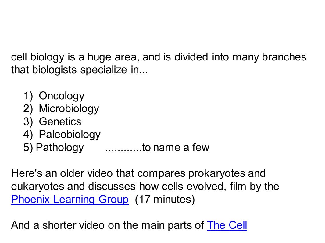 cell biology is a huge area, and is divided into many branches that biologists specialize in...