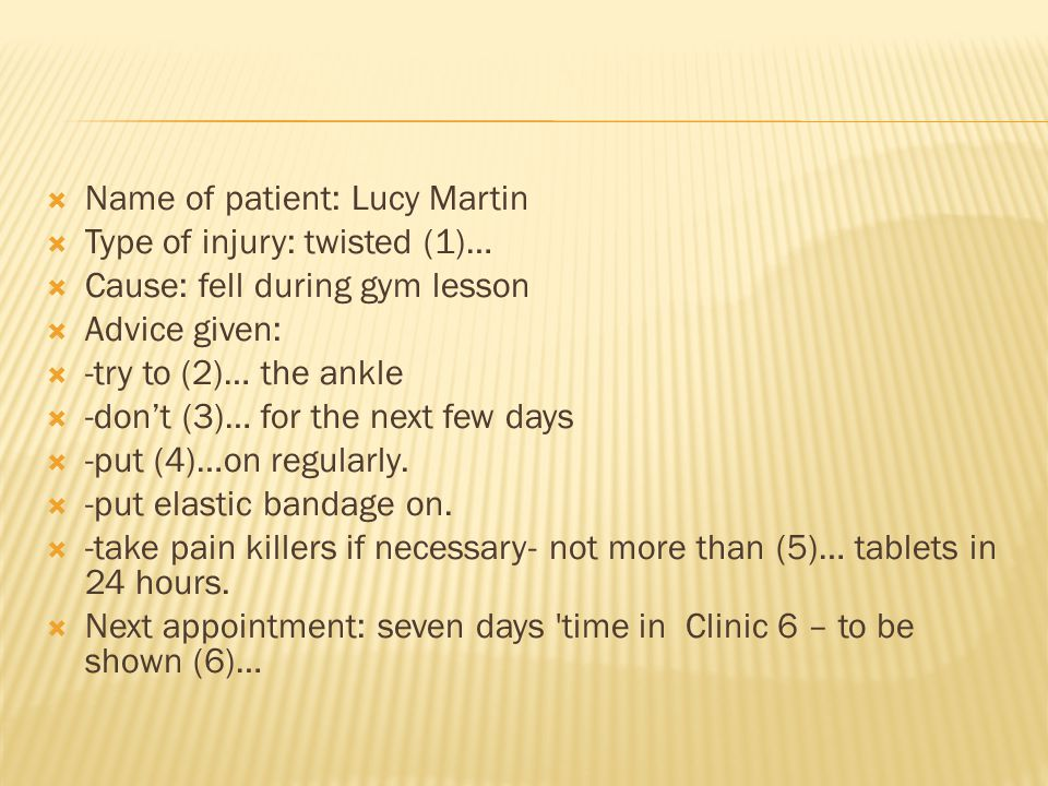 Name of patient: Lucy Martin