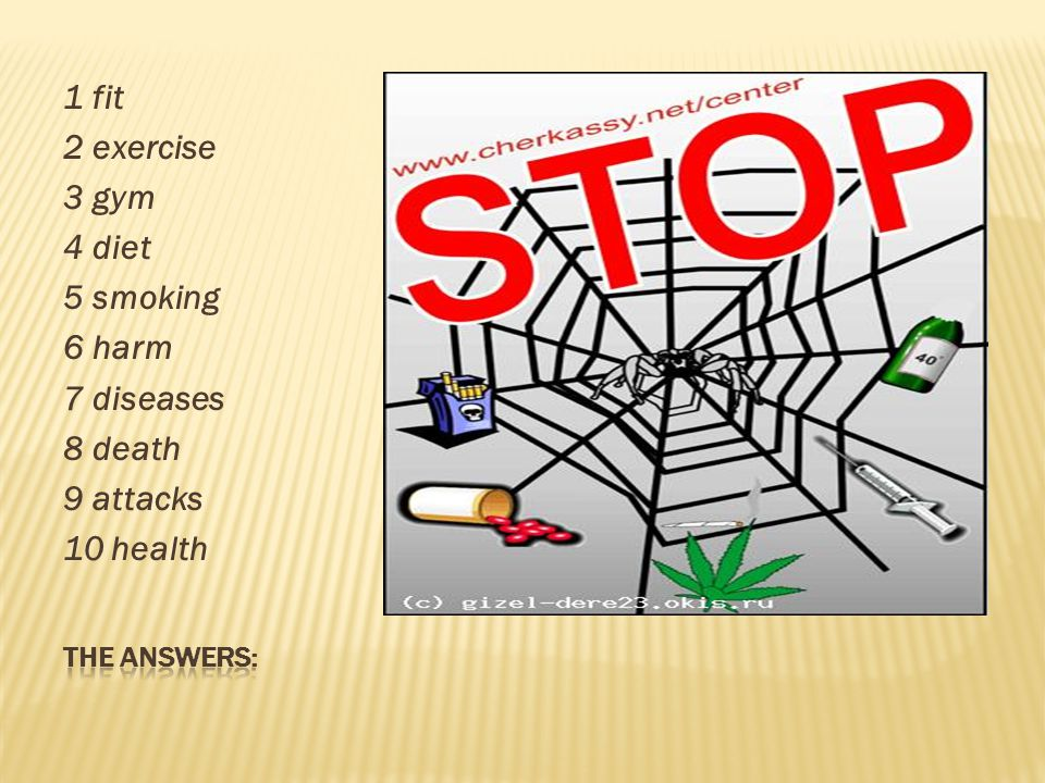 1 fit 2 exercise 3 gym 4 diet 5 smoking 6 harm 7 diseases 8 death