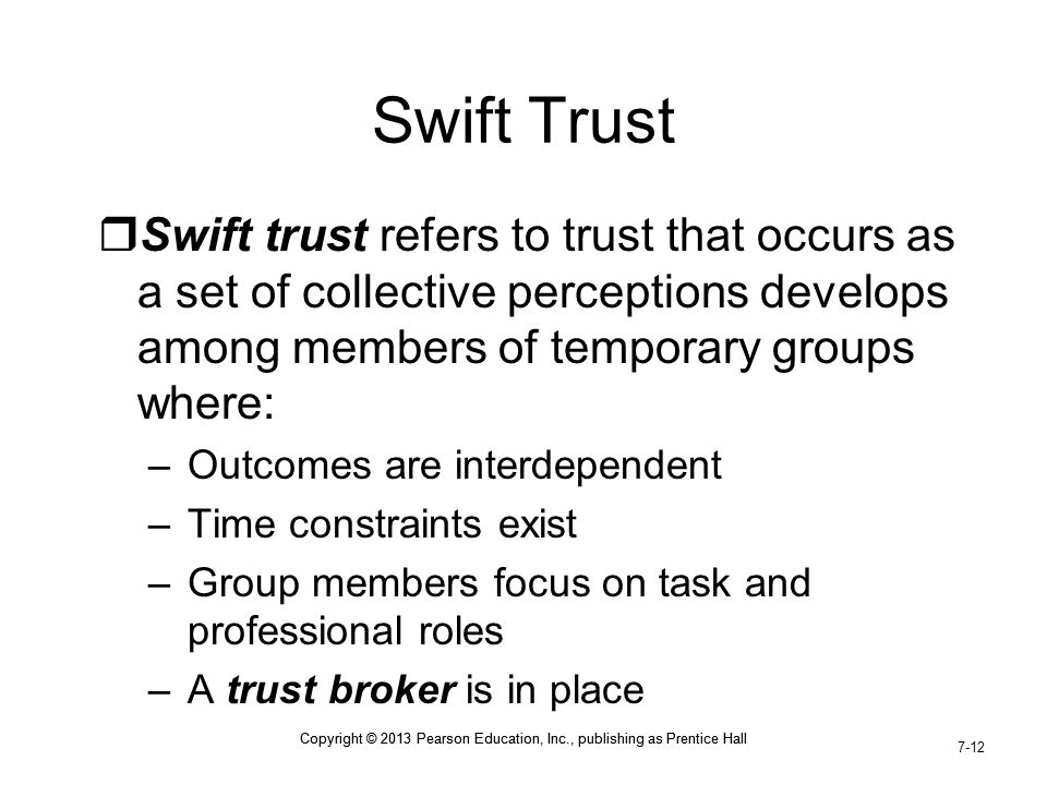 Swift Trust Swift trust refers to trust that occurs as a set of collective perceptions develops among members of temporary groups where: