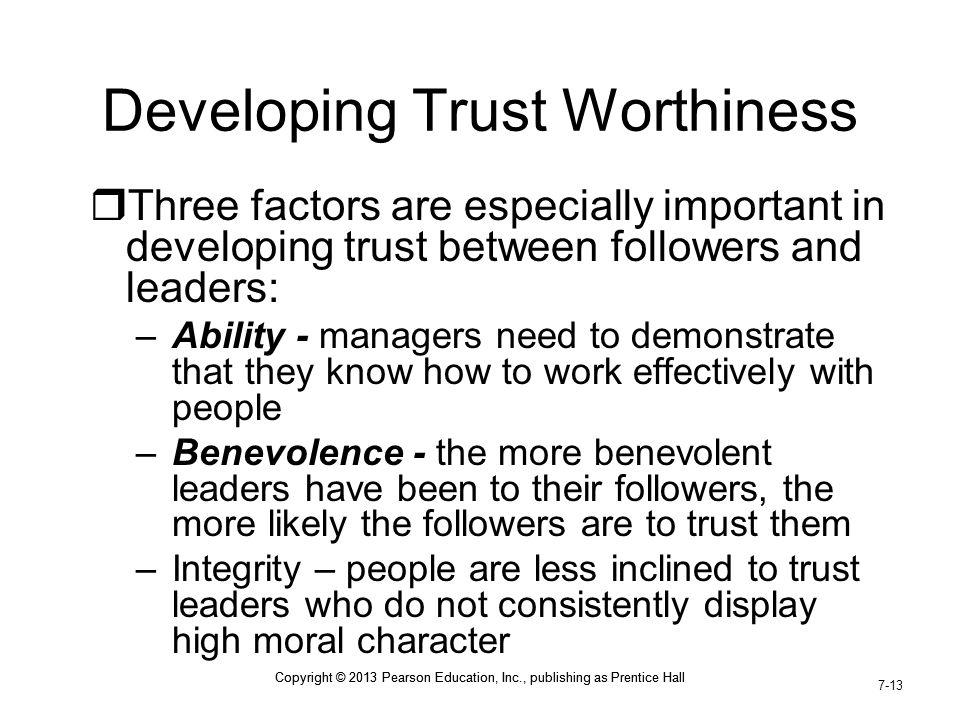 Developing Trust Worthiness