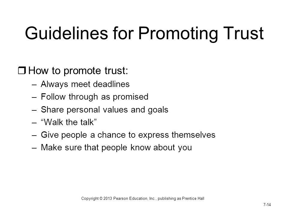 Guidelines for Promoting Trust