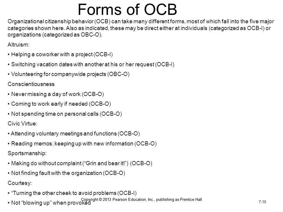 Forms of OCB