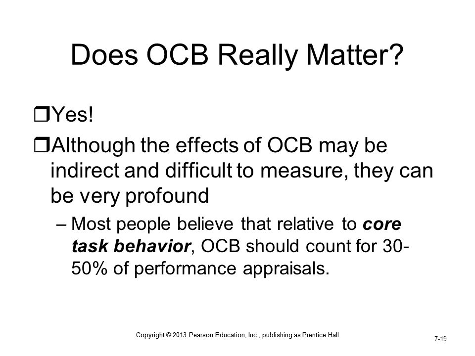 Does OCB Really Matter Yes!