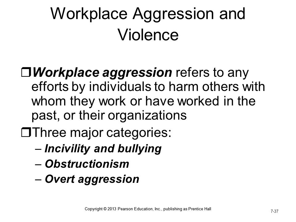 Workplace Aggression and Violence