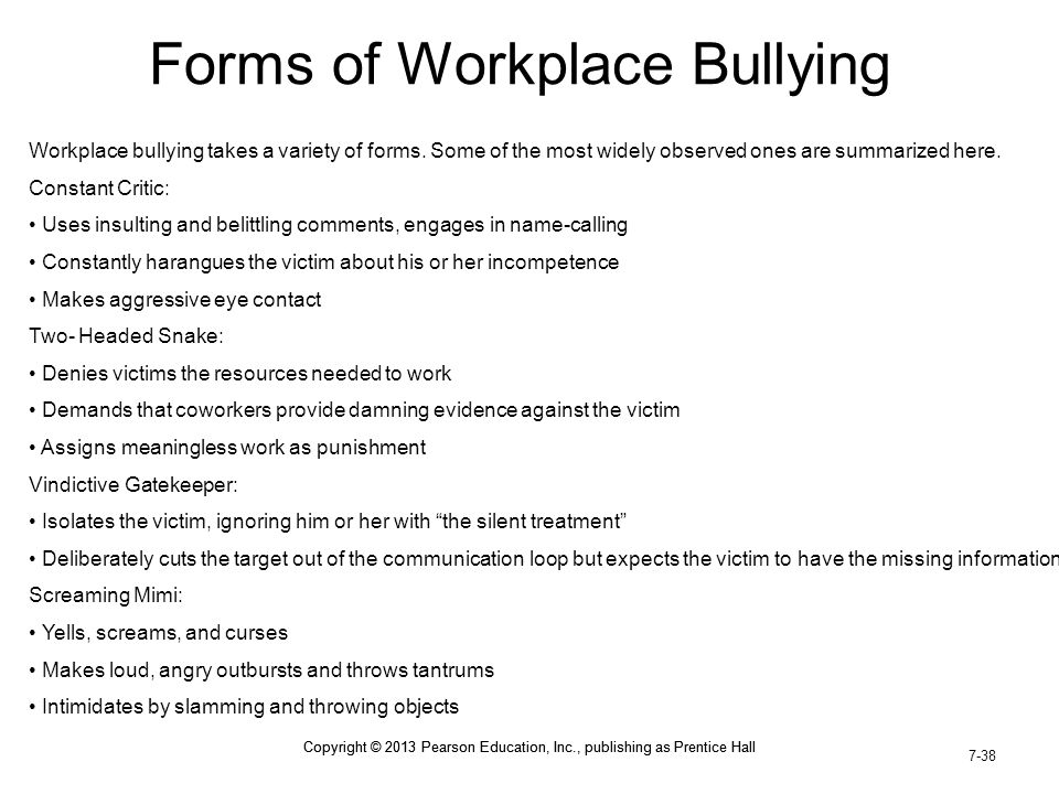 Forms of Workplace Bullying