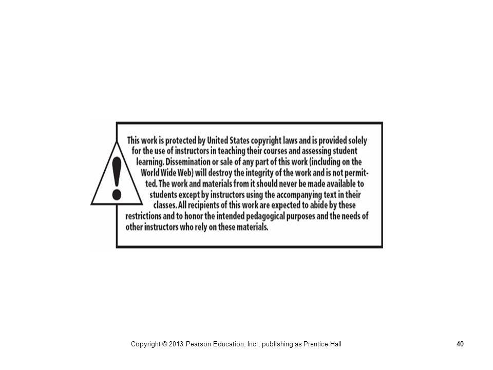 Copyright © 2013 Pearson Education, Inc., publishing as Prentice Hall