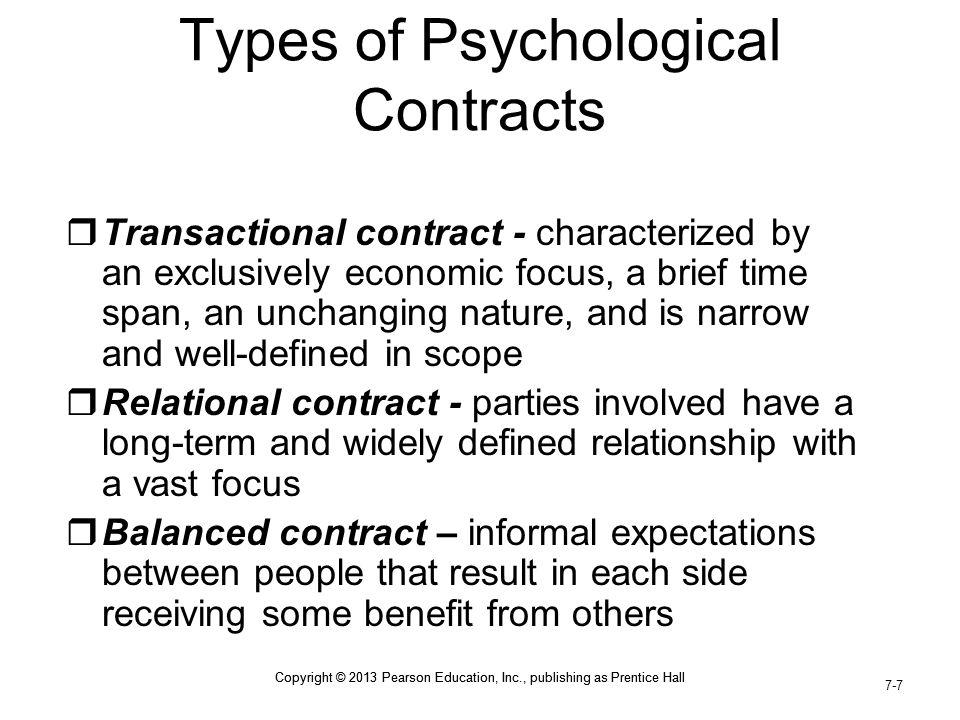 Types of Psychological Contracts