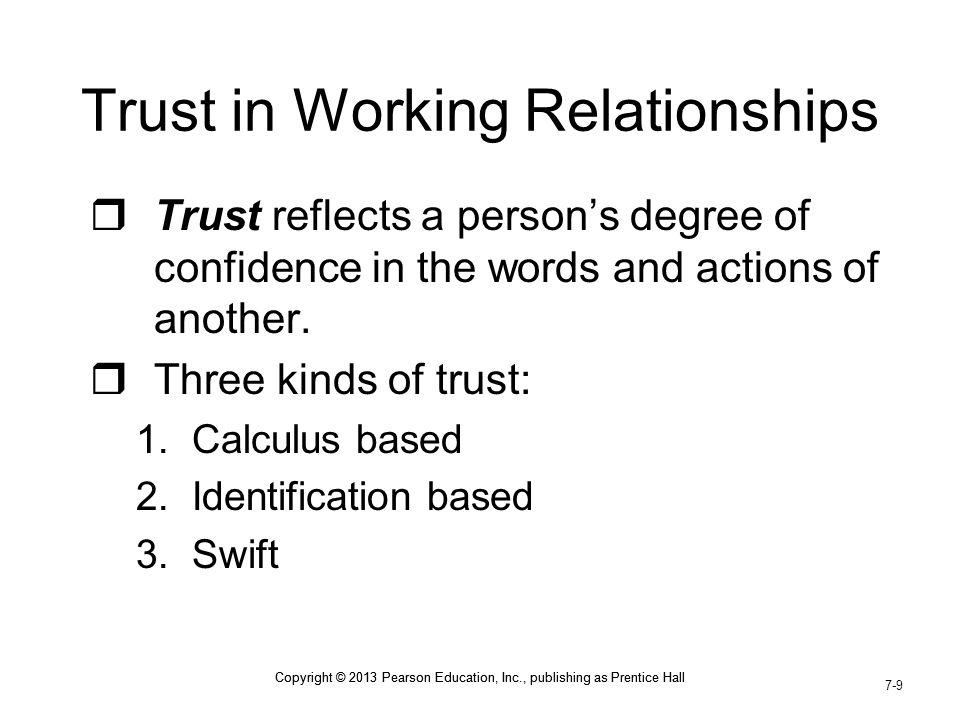 Trust in Working Relationships