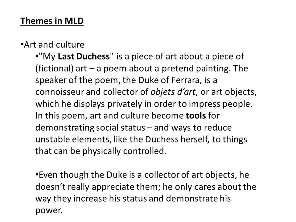 Themes in MLD Art and culture.