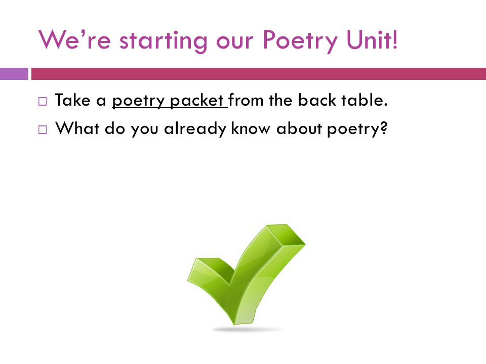 We're starting our Poetry Unit!
