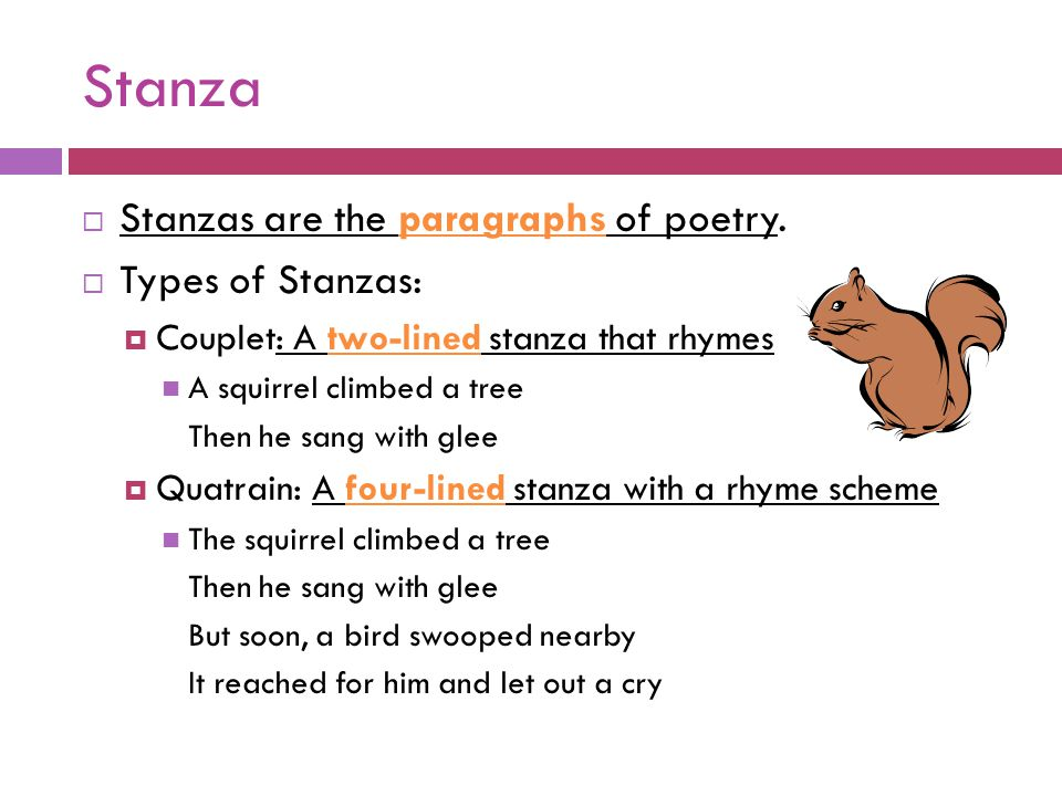 Stanza Stanzas are the paragraphs of poetry. Types of Stanzas:
